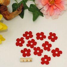 10 tolle rote Filzblumen Blüte 3cm Streudeko Basteln Frühling Karten Restposten