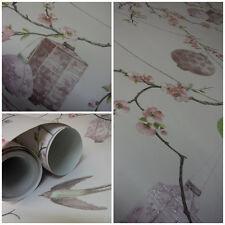 Arthouse Tianna Lavender Wallpaper - Oriental Birds / Lanterns - Glitter  671801