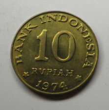 Indonesia 10 Rupiah 1974 Brass Clad Steel KM#38 UNC