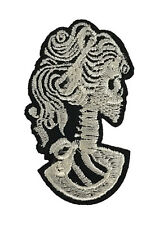 Dead Skeleton Girl Embroidered Patch DIY Iron On Applique Gothic White Skull