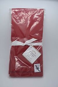 Pottery Barn Linen Hemstitch Guest Towels S/ 2 Red #30