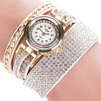 Vintage Women Stainless Steel Leather Crystal Bracelet Quartz Dress Wrist Watch