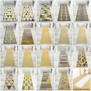Modern Ochre Yellow Hallway Runner Rugs EXTRA LONG NARROW HALL ENTRANCE RUNNERS