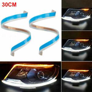 2pcs 30cm Bande LED Feu de Jour Clignotant Lampe Pour Phare Voiture Universel MS