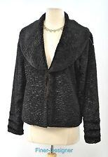 CEJON Ladies Faux Fur Short Bolero Jacket Coat top textured black Size M NEW VTG