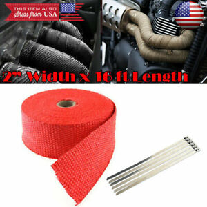 """2"""" 15 ft Exhaust Header Downpipe Pipe Red Heat Wrap w/ 6 Ties For Hyundai Kia"""