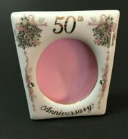 LEFTON 50th Anniversary Photo Frame Hand Painted China Porcelain Easel Wedding