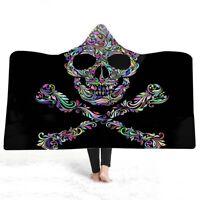 Christmas Ethnic Gothic Cool Sugar Skull Adult Kids Fleece Hooded Blanket Throw