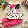 Baby Girls Minnie Mouse Sweater Dress Tops+Pants Outfit Kids Clothes Costume Set