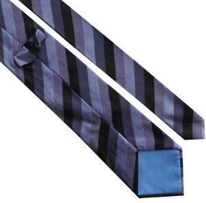 FABULOUS MENS TIE > Classic Purple Lilac Black Regimental Stripe Silk Necktie