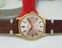 VINTAGE OMEGA GENEVE CHAMPANGE DIAL GOLD PLATED CASE MANUAL WIND MAN'S WATCH