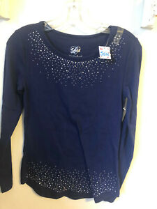 Justice Brand Long  Sleeve Navy Blue Shirt With Silver Studs Girls Size16 NWT