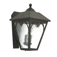 "Hammered Bronze Exterior Wall Lantern Light Fixture 18.625"" x 11"""