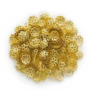 200 Piece Gold Plated Hollow Flower Spacer Beads Jewelry Making Findings 7-9mm