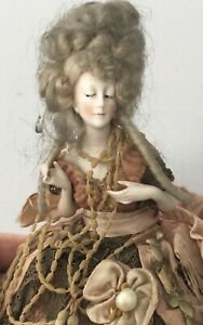 Galluba & Hofmann Bisque Half Doll Madame Pompadour Pin Cushion & Wig &Arms Away