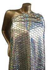 Shiny Holographic Foil Mermaid Scales Pattern on Stretch Nylon Spandex Fabric