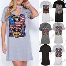Womens Ladies American Rock Vintage Choker Neck Longline Oversized T Shirt Dress