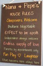 Grandparents House Rules Black Kids Cute Rustic Wooden Nana Pepe's Wall Sign