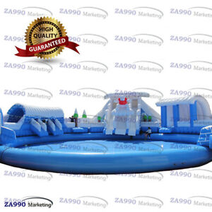 66x66ft Commercial Inflatable Winter Water Park Slides & Pool With 3 Air Blower
