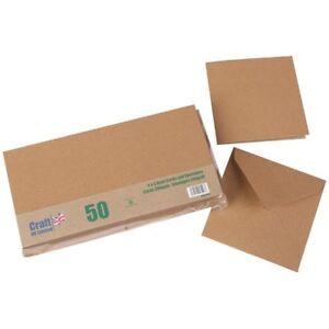 Craft UK 5in x 5in Card Blanks & Envelopes Kraft   Pack of 50