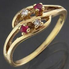 Openwork Wave Solid 9k Yellow GOLD 2 DIAMOND 2 RUBY CLUSTER RING Sz O1/2