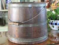 Antique Spaulding & Frost Wooden Stave Bucket with Steel Bands