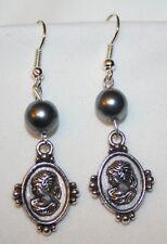 Dainty SimPearl Beaded Silvertone Cameo Lady Dangle PIERCED Earrings