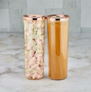 Set of 2 Round Containers Airtight Food Storage Kitchen Accessories Copper