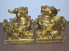 Feng Shui A Pairs Of Brass Pi Yao Pi Xiu Statue For Wealth Luck & Protection