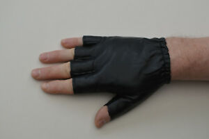 Millington Men's Fingerless Faux Leather Cycling / Work Gloves Black Size Medium