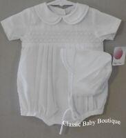 NWT Petit Ami Boys White Smocked Romper Bubble Hat Newborn Classic Baby Smocking