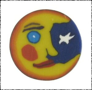 Fimo Clay Button, Crescent Moon Face w/ Star, Blue Moon Button Art