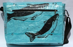 Fair Trade Recycled SuperDeluxe Ex Large Messenger Bags made from Fish Feed Bags