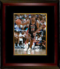 Magic Johnson signed Team USA Olympic Dream Team 8X10 Photo Framed (navy jersey)