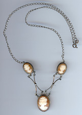 VINTAGE STERLING SILVER TRIPLE CARVED SHELL CAMEOS NECKLACE