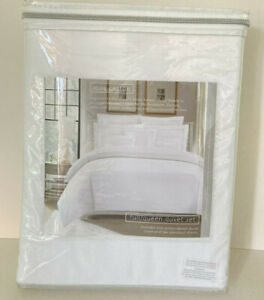 NEW Hotel Collection Embroidered 3 Pc Duvet Cover Set Cotton Queen Sz White