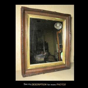 "Antique Victorian Black Walnut w Gold Liner Framed Mirror 18"" x 21"""