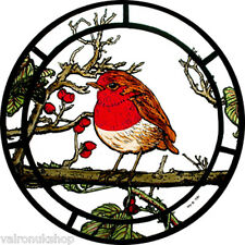 STAINED GLASS WINDOW ART STATIC CLING FAT ROBIN