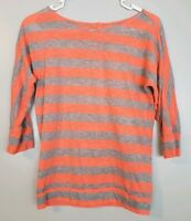 Ann Taylor Loft Women's Top Size XS Orange Gray Striped 3/4 Sleeve Scoop Neck