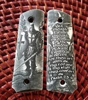 1911 custom engraved ivory scrimshaw grips Crusader Knight Templar Psalm 23:4