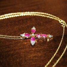 Pear Natural Ruby Tiny Diamond Cross Pendant Necklace 14K Yellow Gold 925 SS