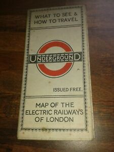 TRULY RARE GENUINE JUNE 1924 UNDERGROUND MAP OF THE ELECTRIC RAILWAYS LONDON