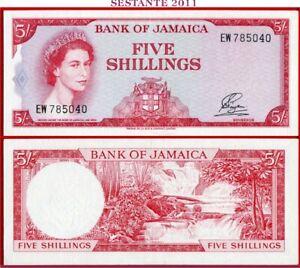 (com) JAMAICA  -  5 SHILLINGS 1964  -  English motto below Arms -  P 51Aa - XF++
