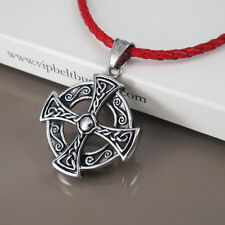 Escudo de plata negro Cruz Celta Colgante Collar de Cuerda Trenzada de Cuero Rojo de 3mm