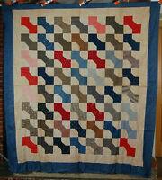 1890's Vintage Bow Tie Quilt Top, Blue Border & ANTIQUE 19th CENTURY FABRICS!