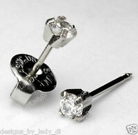 Ear Piercing Earrings Silver Stainless Mini 3mm Clear CZ Studs Studex System 75