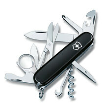 Victorinox EXPLORER BLACK Swiss Army Knife W/ Black Leather Clip Pouch - NEW