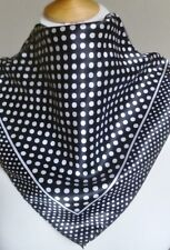 Square Satin Silk Neck Scarf Cravat Bandana in Classic Black White Polkadot