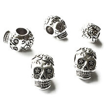 5 x Rose Sugar Skull Beads Spacer Charm 14mm Big Horizontal hole 5mm Day of Dead