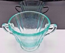 VINTAGE MADRID RECOLLECTION TEAL  AQUA BLUE GLASS SUGAR BOWL INDIANA GLASS